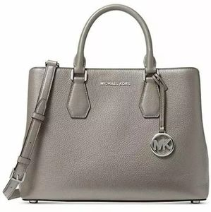 Michael Kors Camille Leather Satchel (Pearl Grey)